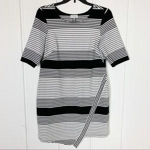 Striped Fitted Black White Asymmetrical Dress
